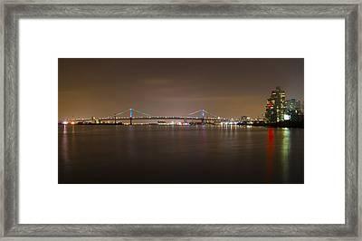 Benjamin Franklin Bridge At Night Panorama Framed Print by Bill Cannon