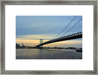 Benjamin Franklin Bridge At Sunset Framed Print by Bill Cannon