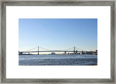 Benjamin Franklin Bridge From Penn Treaty Park Framed Print by Bill Cannon