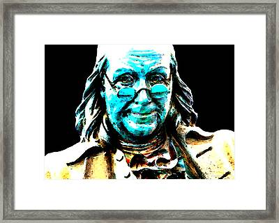 Benjamin Franklin - Historic Figure Pop Art By Sharon Cummings Framed Print