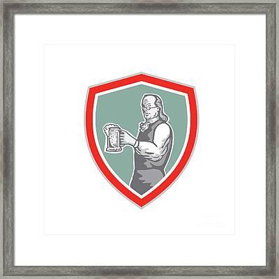 Benjamin Franklin Holding Beer Shield Retro Framed Print