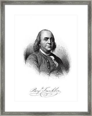 Benjamin Franklin Master Engraving  1879 Framed Print by Daniel Hagerman