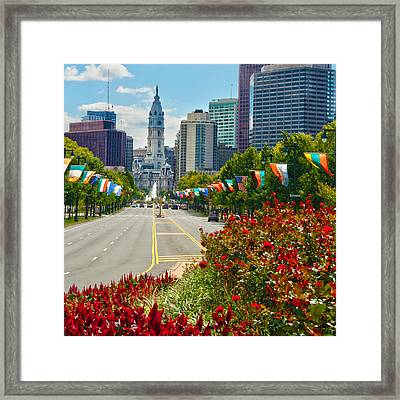 Benjamin Franklin Parkway  Framed Print by Mitch Cat