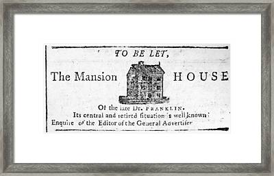 Benjamin Franklin's House Framed Print