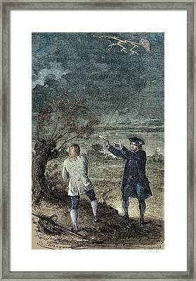 Benjamin Franklins Kite Experiment, 1752 Framed Print by Science Source