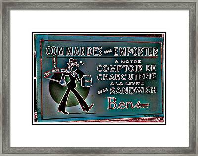 Ben's Deli Restaurant Fameux Comptoir Charcuterie Smoked Meat Take-0ut Montreal Memorabilia Framed Print by Carole Spandau