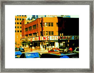 Ben's Restaurant Vintage Montreal Landmarks Nostagic Memories And Scenes Of A By Gone Era Framed Print by Carole Spandau