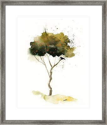 Bent Tree With Blackbird Framed Print