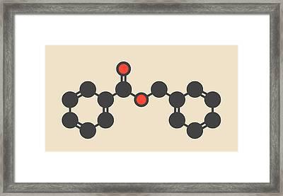 Benzyl Benzoate Drug Molecule Framed Print by Molekuul