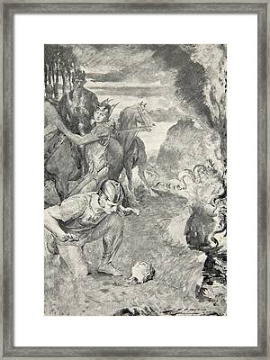 Beowulf Finds The Head Of Aschere Framed Print by John Henry Frederick Bacon