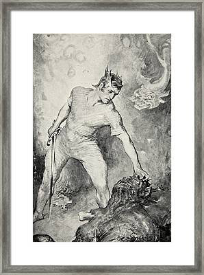 Beowulf Shears Off The Head Of Grendel Framed Print