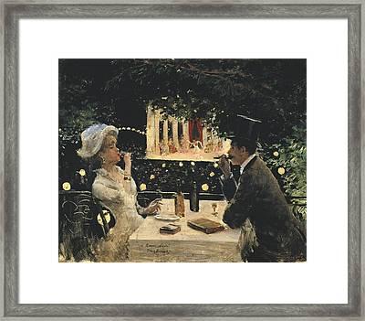 Beraud, Jean 1849-1935. Dinner At Les Framed Print by Everett