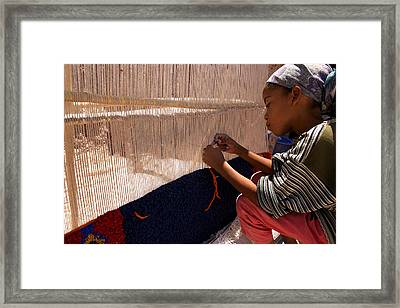 Berber Girl Working On Traditional Berber Rug Ait Benhaddou Southern Morocco Framed Print by PIXELS  XPOSED Ralph A Ledergerber Photography