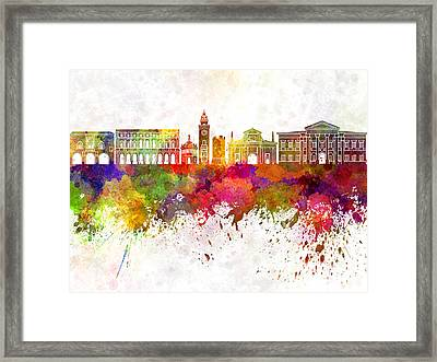 Bergamo Skyline In Watercolor Background Framed Print by Pablo Romero