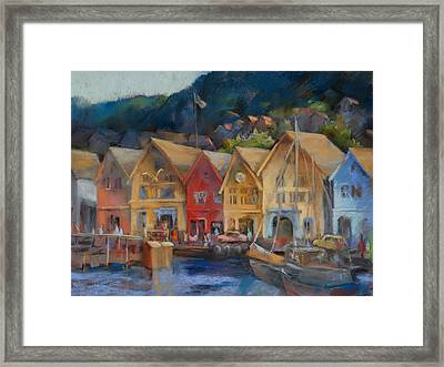 Bergen Bryggen In The Early Morning Framed Print by Joan  Jones