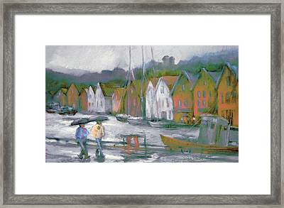 Bergen Bryggen In The Rain Framed Print by Joan  Jones