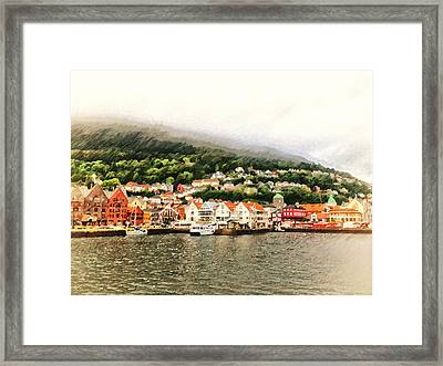 Bergen Norway In The Fog At Night Framed Print by Angela A Stanton