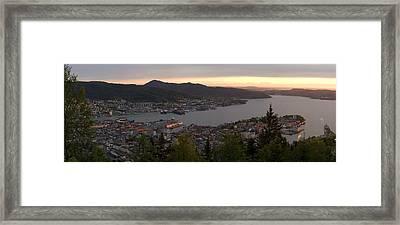 Bergen Sunset Panorama Framed Print by Benjamin Reed