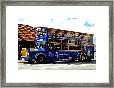 Bergens Blue Bus For Tourists Framed Print by Laurel Talabere