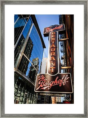 Berghoff Restaurant Sign In Downtown Chicago Framed Print by Paul Velgos