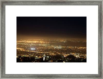 Berkeley At Night Framed Print by Peter Menzel