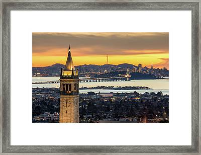 Berkeley Campanile With Bay Bridge And Framed Print by Chao Photography