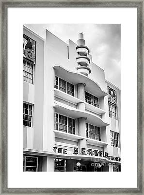 Berkeley Shores Hotel - South Beach - Miami - Florida - Black And White Framed Print by Ian Monk