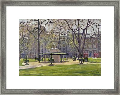 Berkeley Square, London Oil On Canvas Framed Print by Julian Barrow