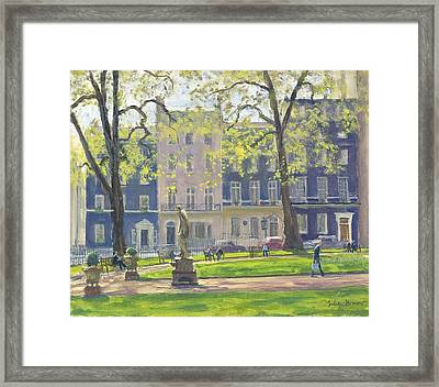 Berkeley Square, South West Corner Oil On Canvas Framed Print by Julian Barrow