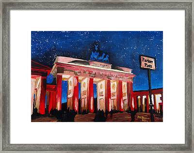 Berlin Brandenburg Gate With Paris Place At Night Framed Print by M Bleichner