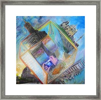 Berlin Cube Framed Print by Veronika Ban