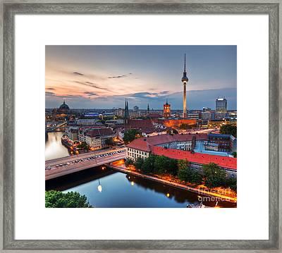 Berlin Germany Major Landmarks At Sunset Framed Print