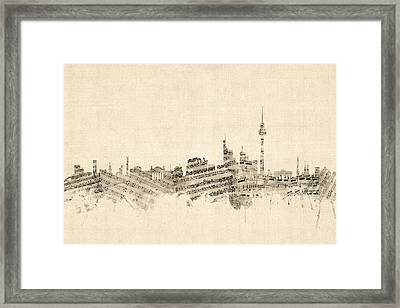 Berlin Germany Skyline Sheet Music Cityscape Framed Print by Michael Tompsett