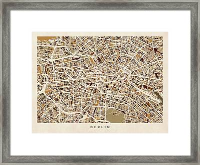 Berlin Germany Street Map Framed Print by Michael Tompsett