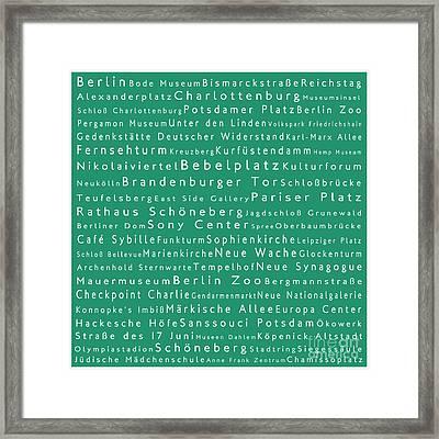 Berlin In Words Algae Framed Print by Sabine Jacobs