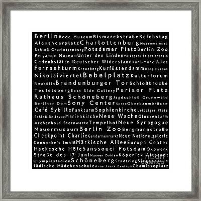 Berlin In Words Black Framed Print