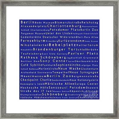 Berlin In Words Blue Framed Print by Sabine Jacobs
