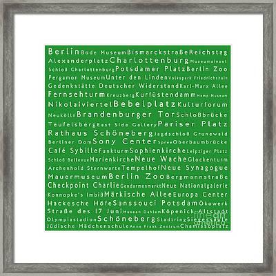 Berlin In Words Green Framed Print by Sabine Jacobs