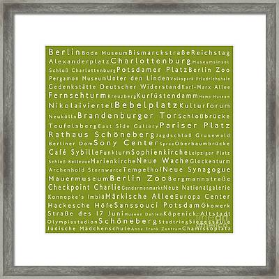 Berlin In Words Olive Framed Print by Sabine Jacobs