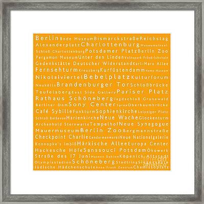 Berlin In Words Orange Framed Print by Sabine Jacobs