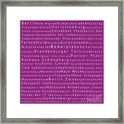 Berlin In Words Pink Framed Print by Sabine Jacobs