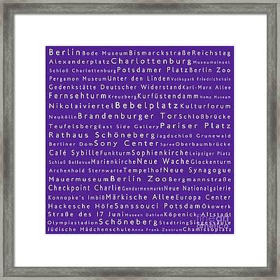 Berlin In Words Purple Framed Print by Sabine Jacobs
