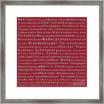 Berlin In Words Red Framed Print by Sabine Jacobs