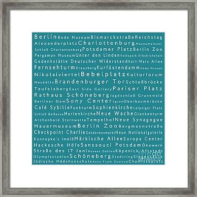 Berlin In Words Teal Framed Print by Sabine Jacobs
