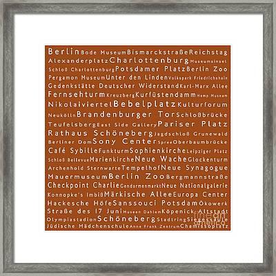 Berlin In Words Toffee Framed Print by Sabine Jacobs
