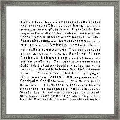 Berlin In Words White Framed Print by Sabine Jacobs