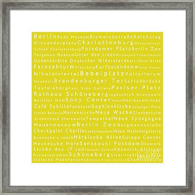 Berlin In Words Yellow Framed Print by Sabine Jacobs