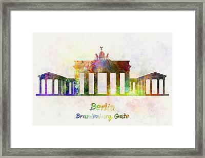 Berlin Landmark Brandenburg Gate In Watercolor Framed Print by Pablo Romero
