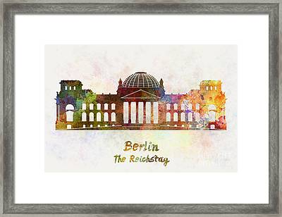 Berlin Landmark The Reichstag In Watercolor Framed Print by Pablo Romero