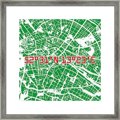 Berlin Map Green Framed Print by Big City Artwork